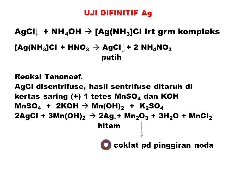 UJI DIFINITIF Ag AgCl + NH4OH  [Ag(NH3]Cl lrt grm kompleks